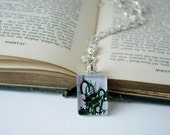 Holiday Photo Jewelry - Thistles - glass photo pendant, forest green, black and white, modern art, efpteam, fpoe