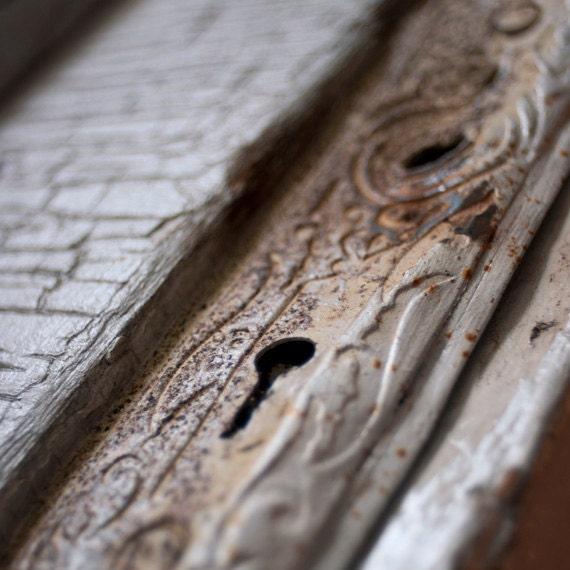 Antique Lock Photograph - Secret Door - print, rustic home decor, skeleton key, cream and coffee, , fpoe