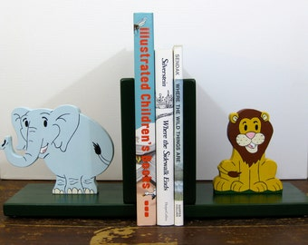 Jungle friends bookends, lion & elephant