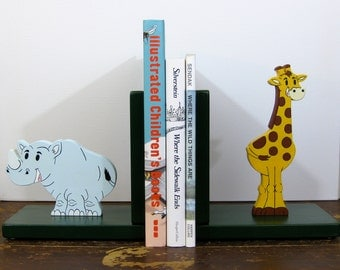 Jungle Friends bookends, rhino & giraffe