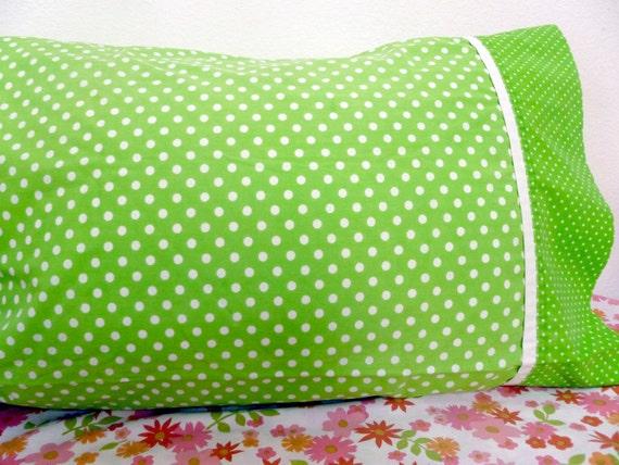 vintage green and white polka dot king size pillowcase