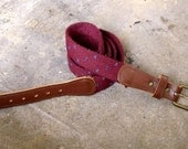 Mod/ Indie Hipster/ Vintage/ Woven Cotton and Genuine Leather Skinny Maroon Belt