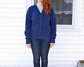Indie Hipster/ 80s/ Vintage/ Jantzen Navy Blue Cardigan Sweater