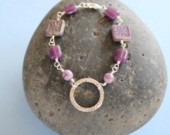 Beautiful Wire Wrapped Bracelet with Purple Beads