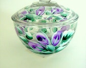 Hand Painted Sugar Bowl with Purple Roses