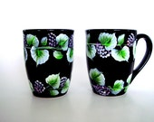 Hand Painted ceramic Black Mugs with Berries
