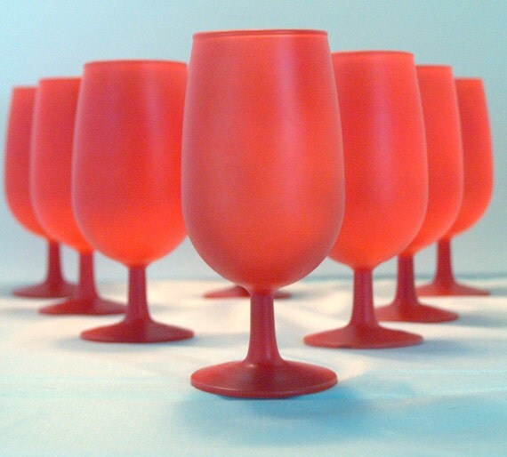 Modern Red Goblets- Mid Century Glassware-Set of 8