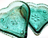 Blue Glass Teal Glass Vintage Candy Dish Heart Decor Wedding Display