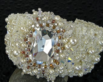 """Pearl Cuff, Handmade Crystal Bracelet, Swarovski Crystal and Pearl, Statement Freshwater Pearl -Kate The Great """"Pacific"""""""