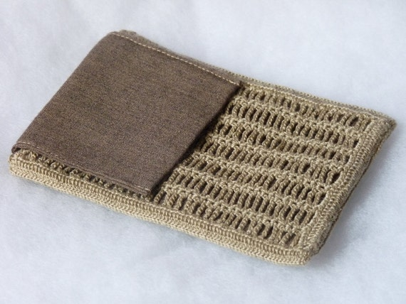 Brown Ladder Crochet Pouch