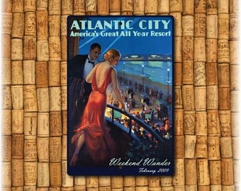 "Personalized  Atlantic City Vintage Travel Sign (12"" x 8"")"