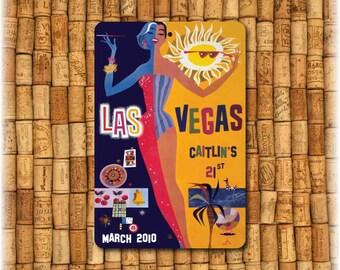 "Las Vegas  Personalized  Vintage Travel Sign (12"" x 8"")"
