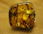 Vintage 1990s Genuine Cognac Amber Ring Set in Sterling Silver