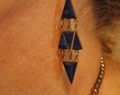 "Beautiful Old Zuni Blue Lapis Sterling Earrings 3 1/4"" long"
