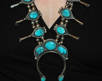 Beautiful vintage Navajo turquoise squash blossom necklace hallmarked