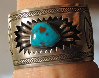 Big Beautiful Vintage Navajo Hopi Sterling & Red Mountain Turquoise Bracelet Heavy 103 Grams