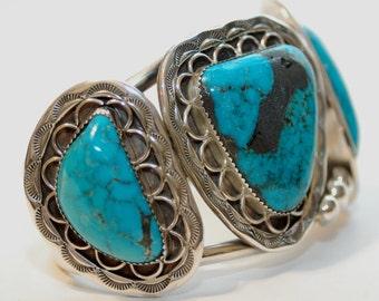 "Huge Vintage Elizabeth Etsitty Navajo Kingman Turquoise Sterling Bracelet 2"" Tall 120 Grams"