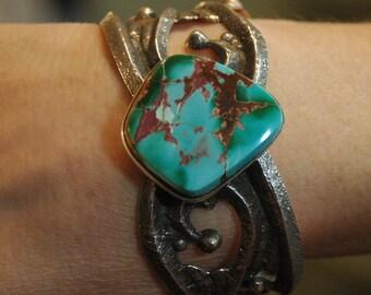 Navajo Anthony Bowman Tufa Cast Pilot Mountain Turquoise Bracelet