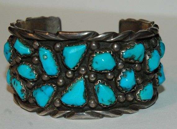 Big Heavy Gorgeous Morenci Turquoise Zuni Bracelet By Angie C. ( Cheama ) 131 grams