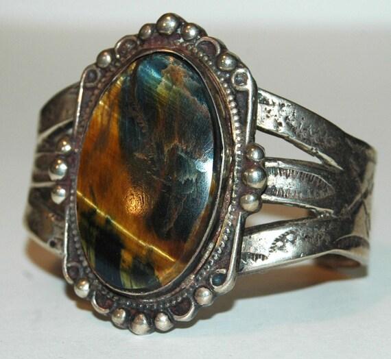 SOLD Big heavy Fred Harvey era ingot silver stamped Tiger Eye bracelet 106 GRAMS