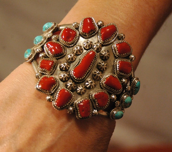 """Tall heavy vintage hallmarked Navajo coral and turquoise sterling cluster bracelet 86 grams 2 1/2"""" tall"""
