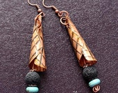 Handmade Copper Oxidized Cone Earrings with Lava and Turquoise Bead by EV.I.
