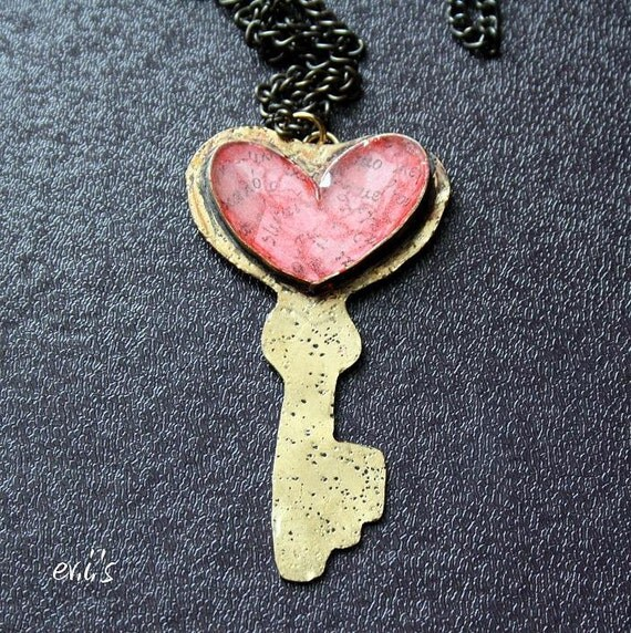 Handmade Valentine's Key Heart Dotted Brass Soldered Pendant with Red Pieces of Greek Letters and Resin Gift for Her by EV.I.