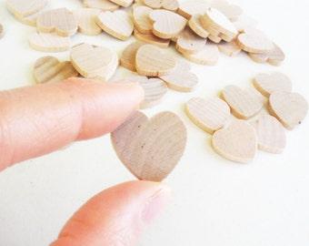 "50 Miniature Wooden Hearts 3/4"""