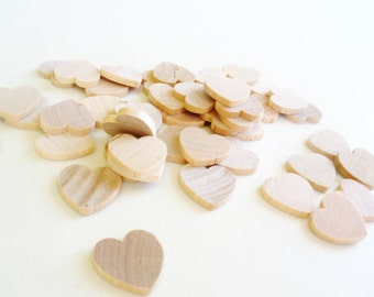 "100 Miniature Wooden Hearts 3/4"""