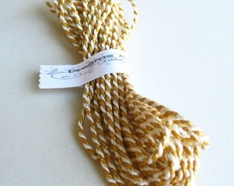 1yd twine gold with white cord -gift wraping-paching-decor-favor-tag cord