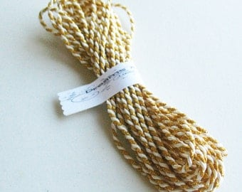 1/2yd twine Gold with white cord Bright and Silky -Twine Cord -Gold and White Silky Cord -Decorative Cord -Favor Trim -Favor Cord
