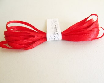 5yd Red Satin Ribbon  1/8 inch wide