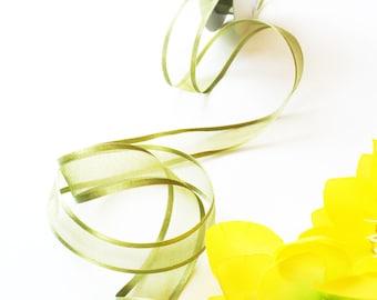 3yd of Green Organdy with Green Satin edge Ribbon