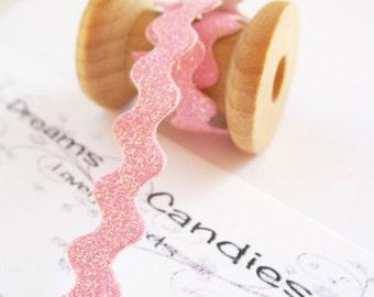 "1yd Pink Glitter Ric Rac Trim -1/4"" width -Baby Pink Cord -Silky Cord -Pink Rat Tail Cord -Baby Pink Trim"