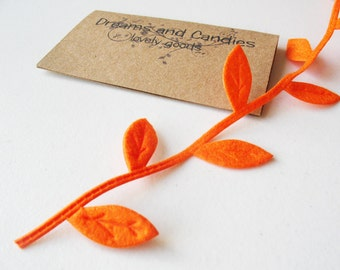 "1/2 yd Orange Felt Leaves Twig Cords -1"" width"