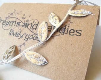 """1/2yd Silver Leaves Cord -1 1/4"""" width -Silver Leaf Cord -Decorative Cord -Silver Ribbon -Silver Leaf Ribbon -Silver Lace"""