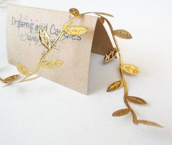 """5yd Gold Leaves Cord -1 1/4"""" width"""