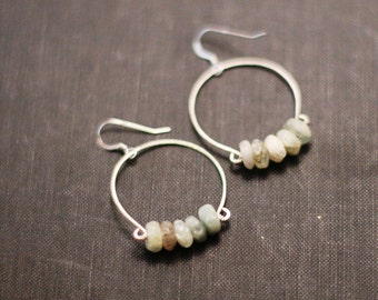 Natural aquamarine forged hoop earrings