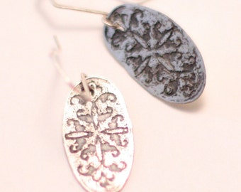 Etched sterling silver earrings