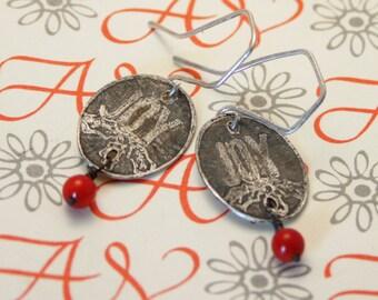 Etched joy sterling silver earrings