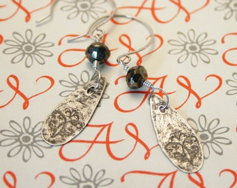 Etched flourish and pyrite sterling earrings