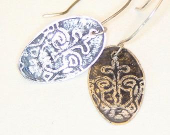 Etched scrollwork cross sterling earrings