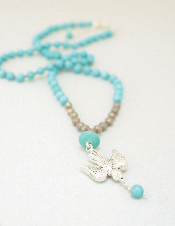 Turquoise and Pyrite Necklace with Sterling Silver Bird