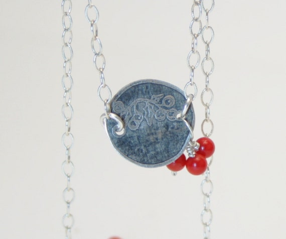 Mistletoe Necklace 1 Etched sterling silver and coral