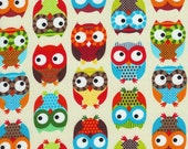 Owls in Cream Fabric, Bright Owl by Alice Kennedy for Timeless Treasures, One Yard, 1 Yard - FabricBubb