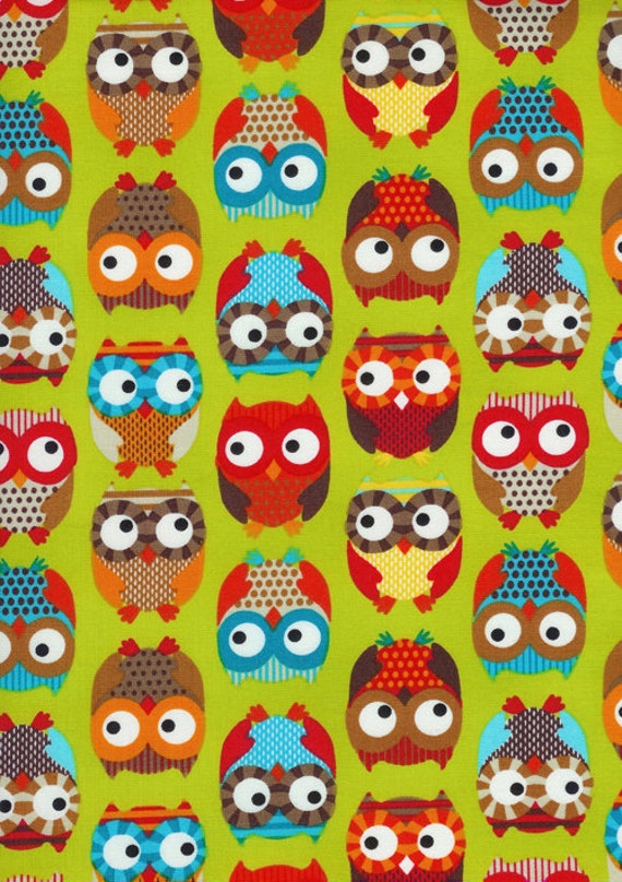 FAT QUARTER, Owls in Lime Fabric, Bright Owl by Alice Kennedy for Timeless Treasures