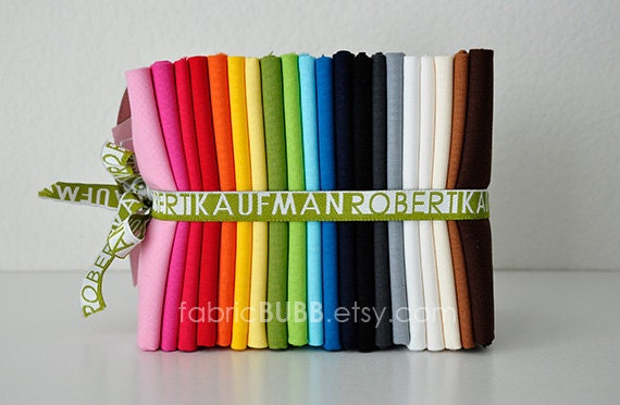Pure Organic Kona Cotton Solids Fat Quarter Bundle by Robert Kaufman, Fat Quarters, Organic, Fabric