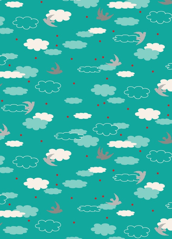 END OF BOLT, 29 inches, Dream in Teal, The Woodlands by Khristian A Howell for Anthology Fabrics