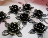 10pcs 18MM vintage bronze brass charms,brass rose charms,flower pendants,antiqued brass leaves,brass stamping 1810004
