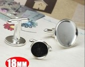 10Pcs 18MM silver plated brass round French Cuff Links Blanks,sleeve button,cuff link setting,cuff link tray 1500005-4